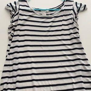 H&M Striped Flutter Sleeve T-shirt